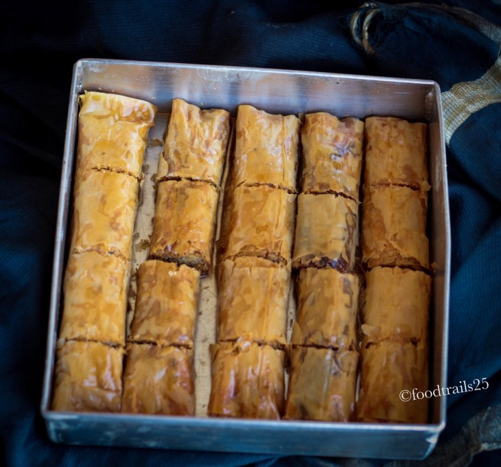 Baked Baklava Drizzled with Syrup