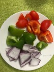 cubed bell peppers and onions
