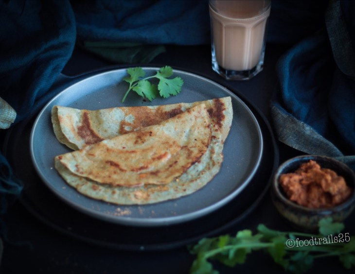 Sprouted Moong and Quinoa Dosa