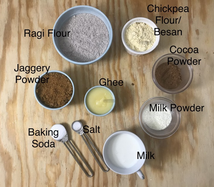 Ingredients of Ragi Chocolate Cookies