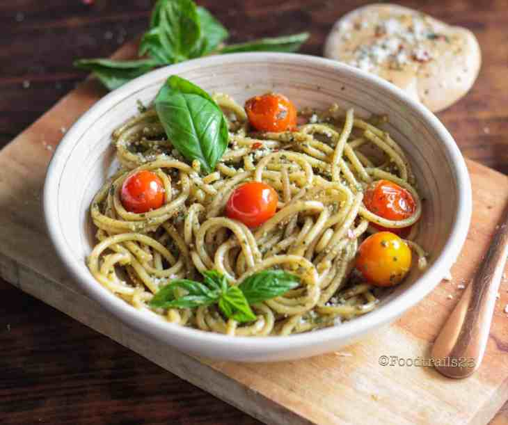 Basil Pesto Spaghetti in Instant Pot with roasted Cherry tomatoes