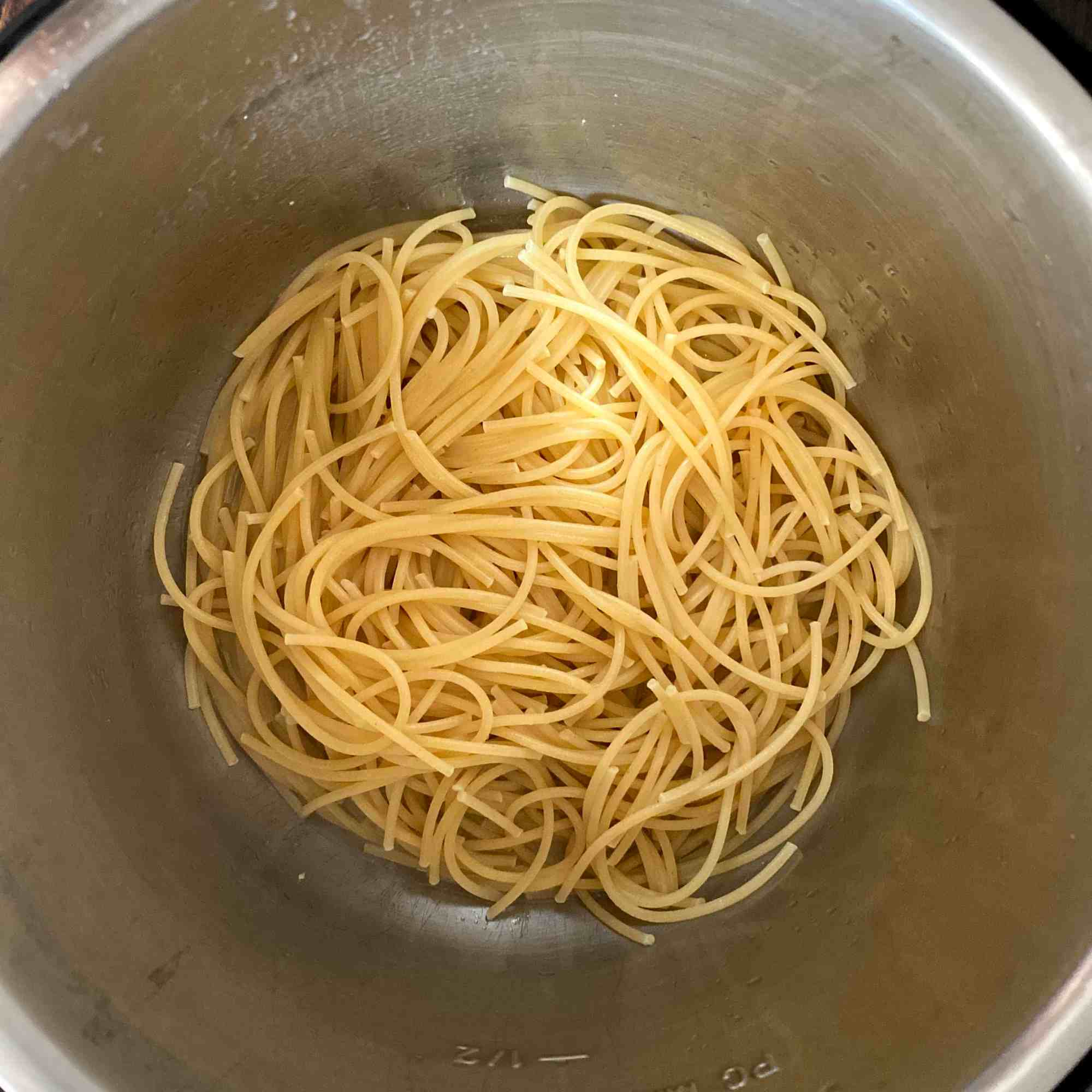 Cooked Pasta. Do Quick Pressure Release and open the lid