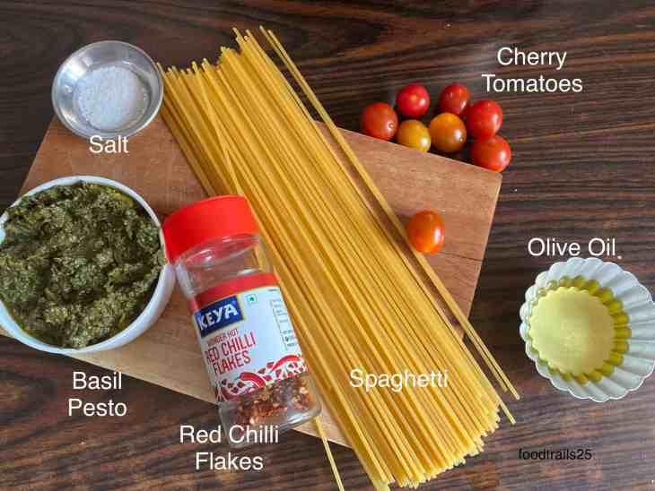 Ingredients to make Basil Pesto Pasta