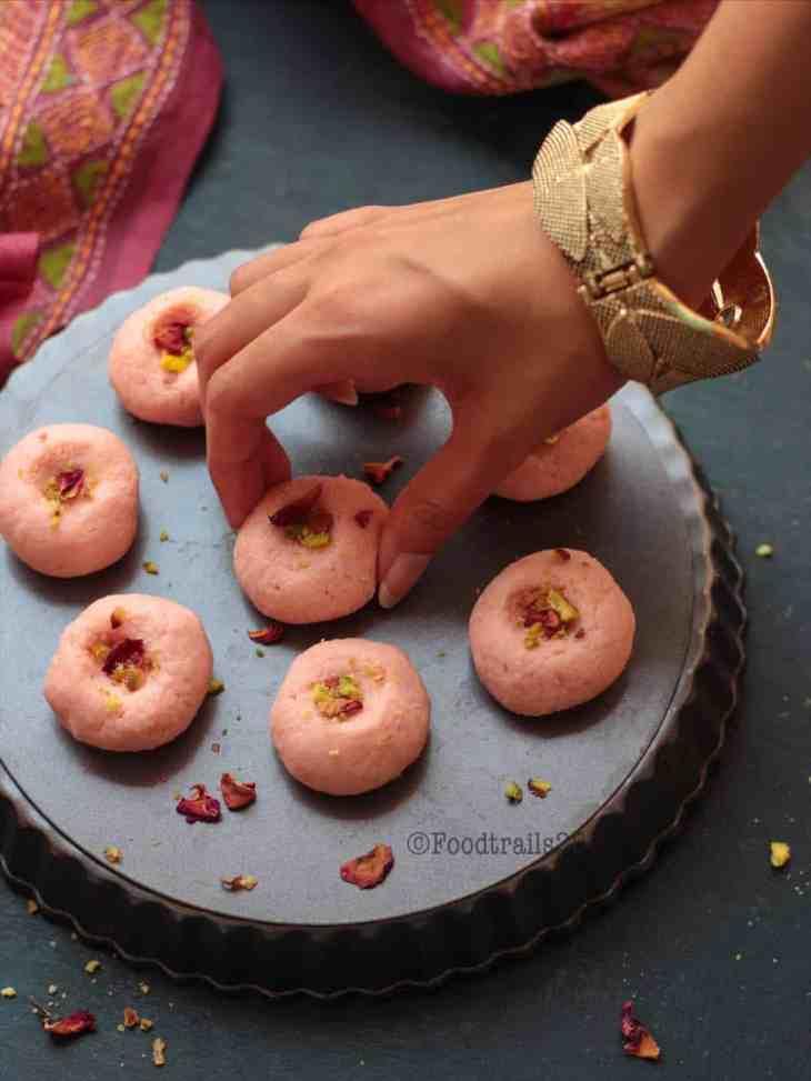 Rose flavored Coconut Sandesh
