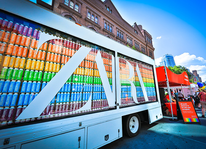 Zara Gay Pride Experiential Vehicle Glass Truck