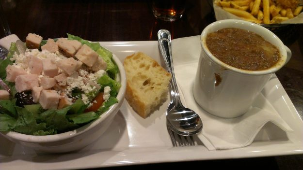 Greek salad and beef stew