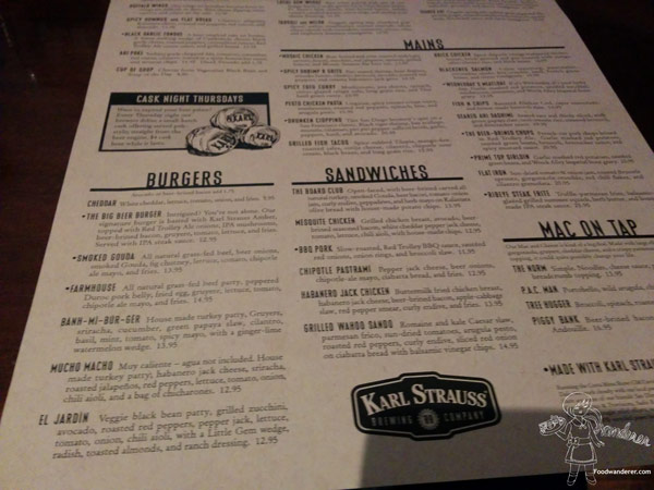 Karl Strauss Menu