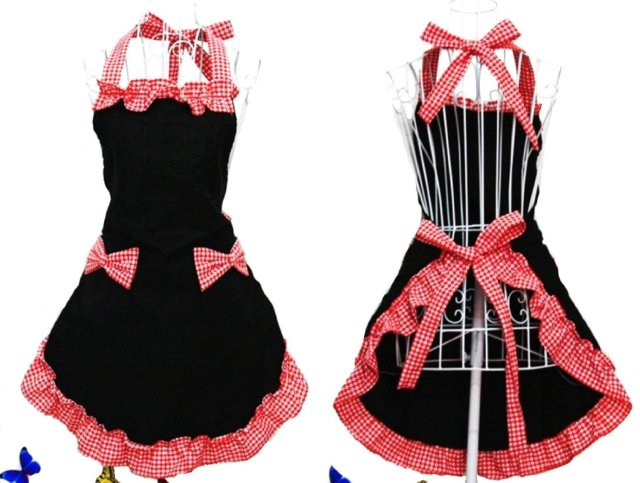 Hyzrz Hot Cute Lovely Lady's Kitchen Fashion Flirty Apron for Women's Girls with Pockets Black and Red Aprons (Black and Red)