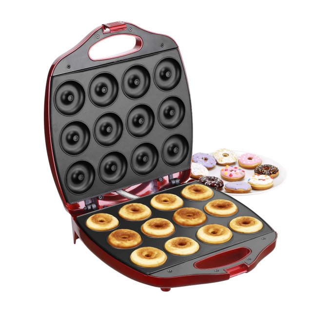 VonShef Deluxe 12 Hole Electric Donut Maker Snack Machine, Red