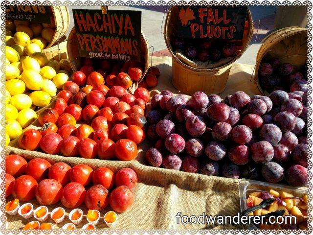 Lemons, hachiya persimmons, and fall plums