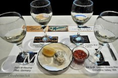 Our first flight of wines and oysters. The surprise was that there was another flight on the back of the card. Wow!