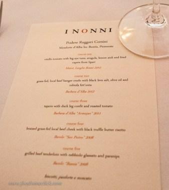 Our Piemontese wine dinner menu