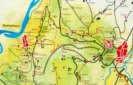 Our plan: Follow the top red line from the Medieval hilltop Neive (red circle) to Barbaresco, and return via the bottom red line.