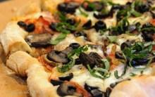 Julie's fave: black olive, mushroom on tomato sauce and mozzarella