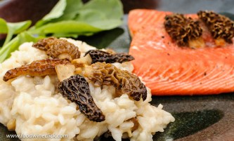 Morel mushroom risotto with cedar planked salmon