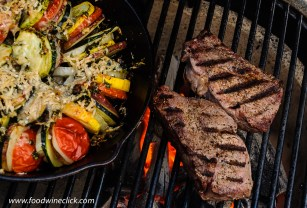 Vegetable gratin and steak on the Primo ceramic grill