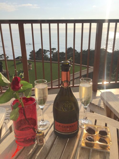 Champagne and Chocolate at our balcony