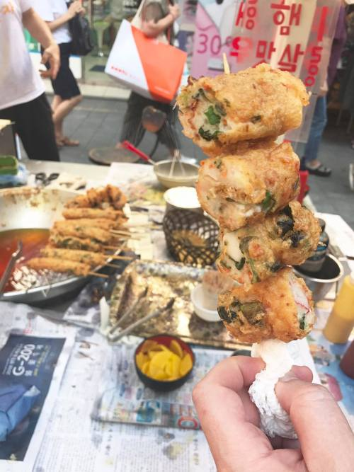 korea street food fried fish cakes skewers