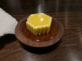 #10 bread course - Ginseng infused orange blossom honey poured over butter - Benu, SF, Oct 2016