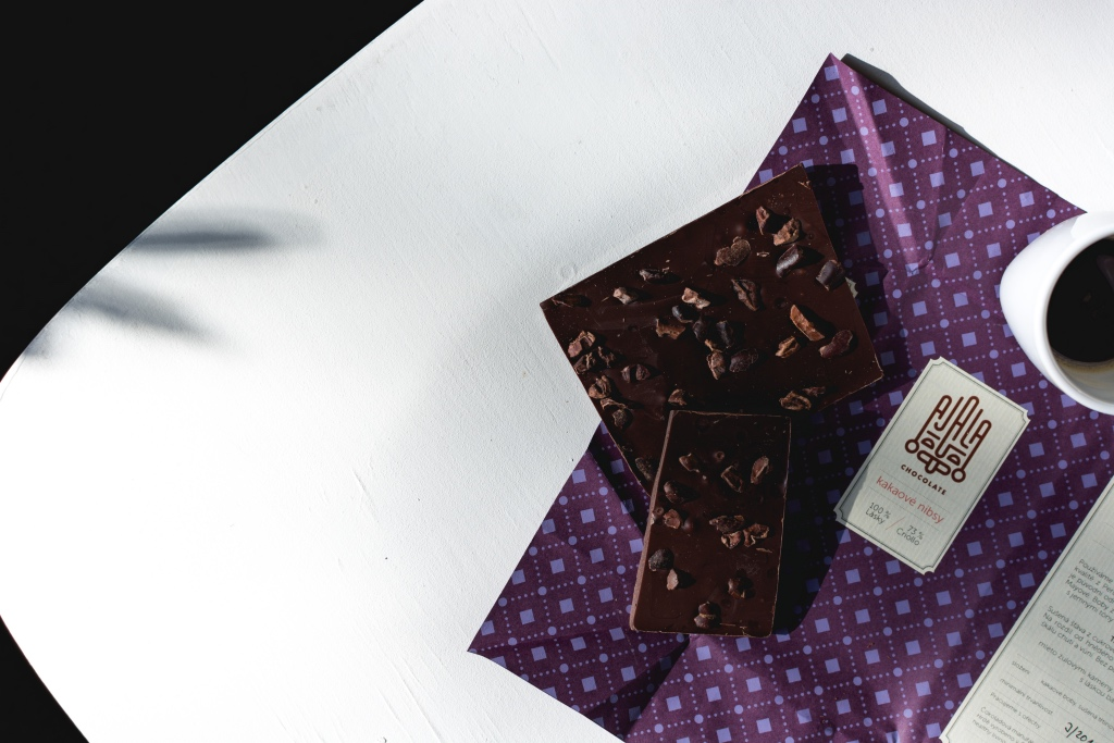 dark chocolate from purple wrapper on white plate