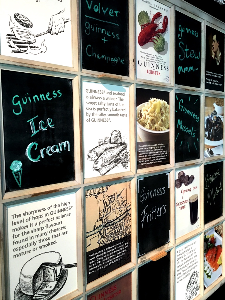 Wall of guinness pairings from Guinness storehouse in St James Gate, Dublin | Discovering Guinness on foodwithaview.com