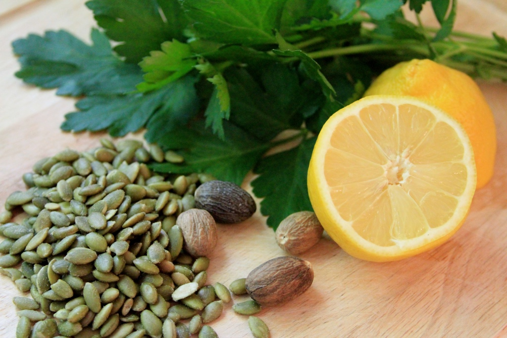 pepitas slice lemons fresh parsley and whole nutmeg