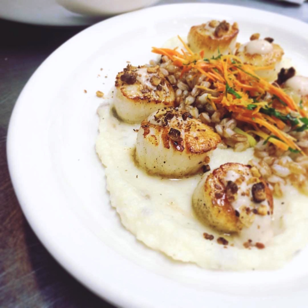 Scallops with whole grains and julienne vegetables | 100 Steps on foodwithaview.com | photo by localrootscranford