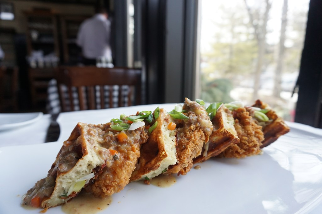 chicken and waffles at trap rock restaurant and brewery | photo by daniel krieger | foodwithaview.com