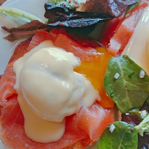 Eggs Benedict on Smoked Salmon with Fresh Greens | Dandelion Pub | Philadelphia Restaurants on foodwithaview.com