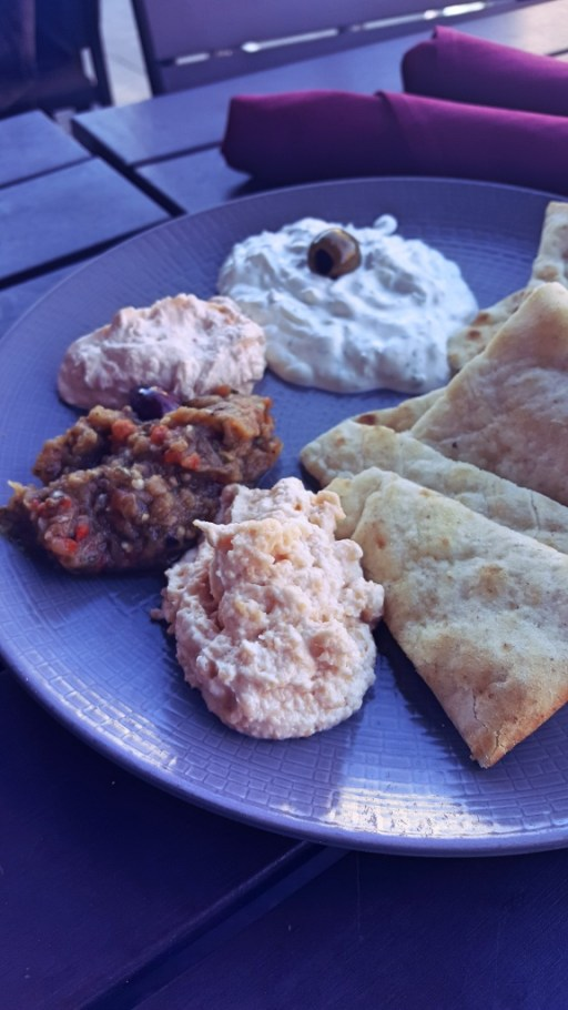 Plate of Mediterranean Dips and Pita | Fare Restaurant Philadelphia | Philadelphia Restaurants on foodwithaview.com
