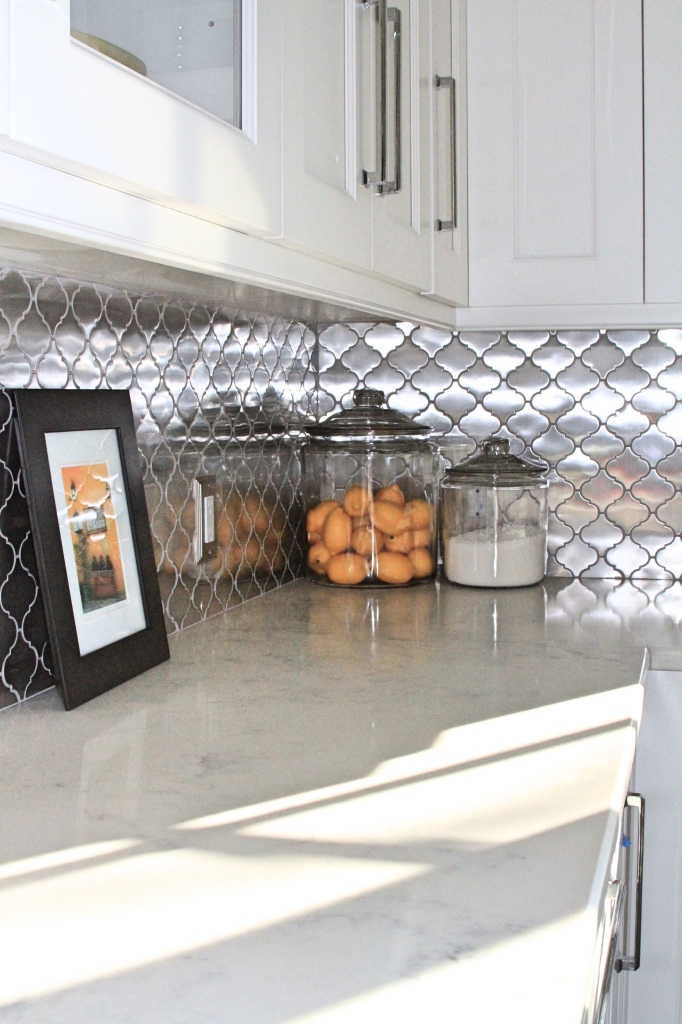 Stainless steel moroccan tile backsplash | kitchen renovation | a kitchen love story by foodwithaview.com