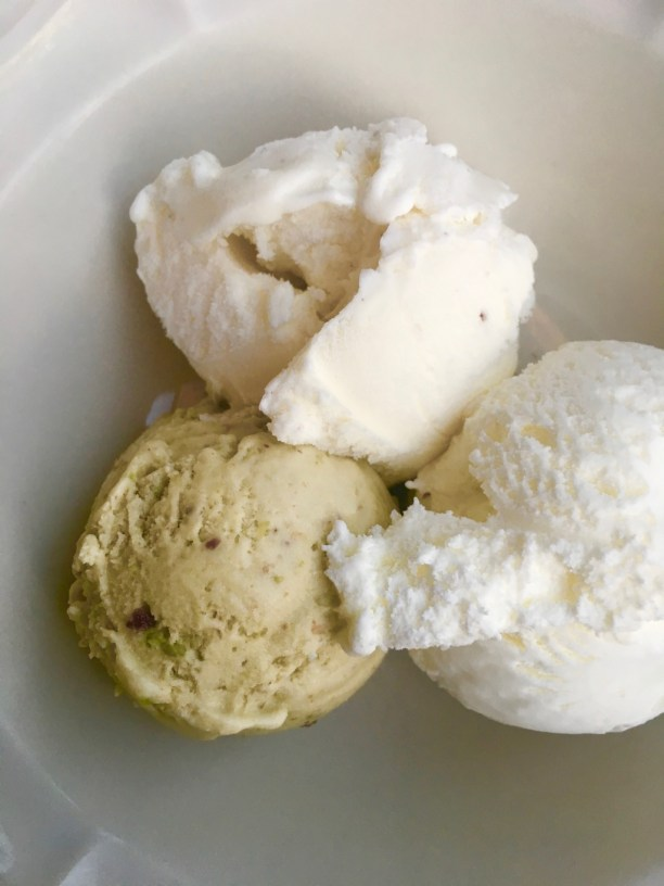 Pistachio vanilla and mascarpone gelato scoops in a white bowl | | best ice cream in NJ on foodwithaview.com