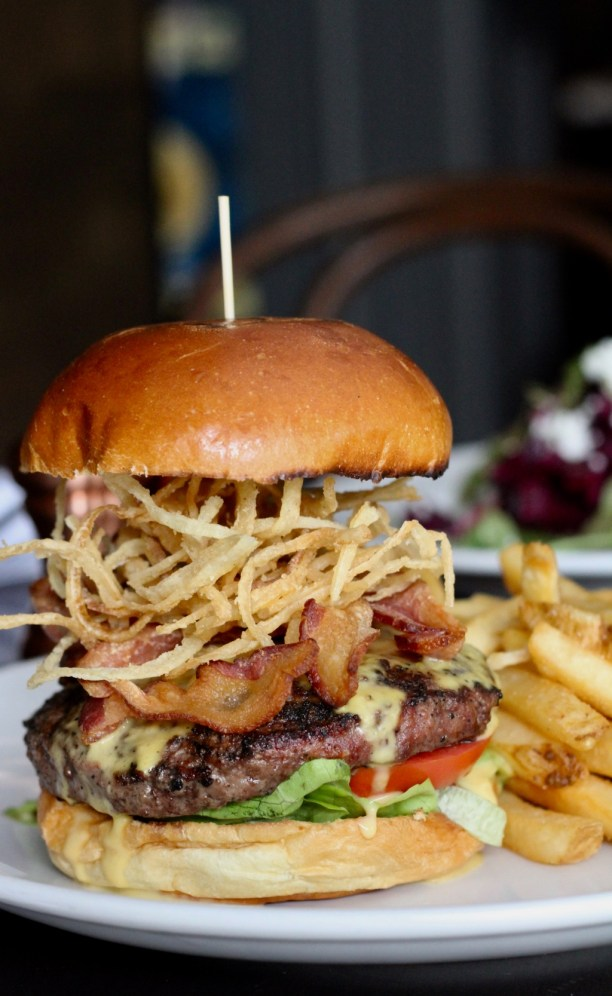 Loaded burger with bacon and frizzled onions | The Hills Tavern in Millburn NJ | foodwithaview.com