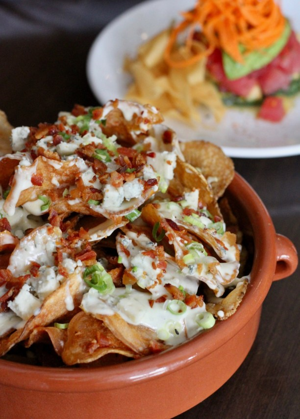 Loaded homemade potato chips with blue cheese scallions and bacon | The Hills Tavern in Millburn NJ | foodwithaview.com