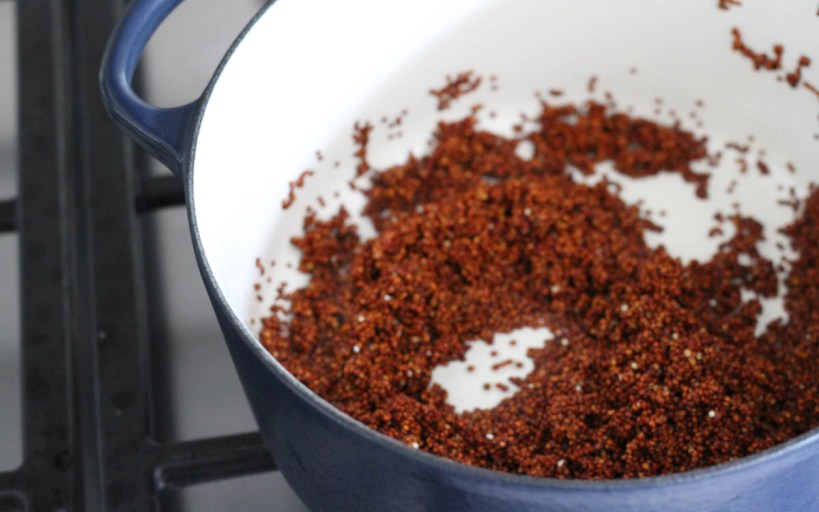 Red quinoa cooking in blue Le Creuset pot | Terras Kitchen Review | foodwithaview.com