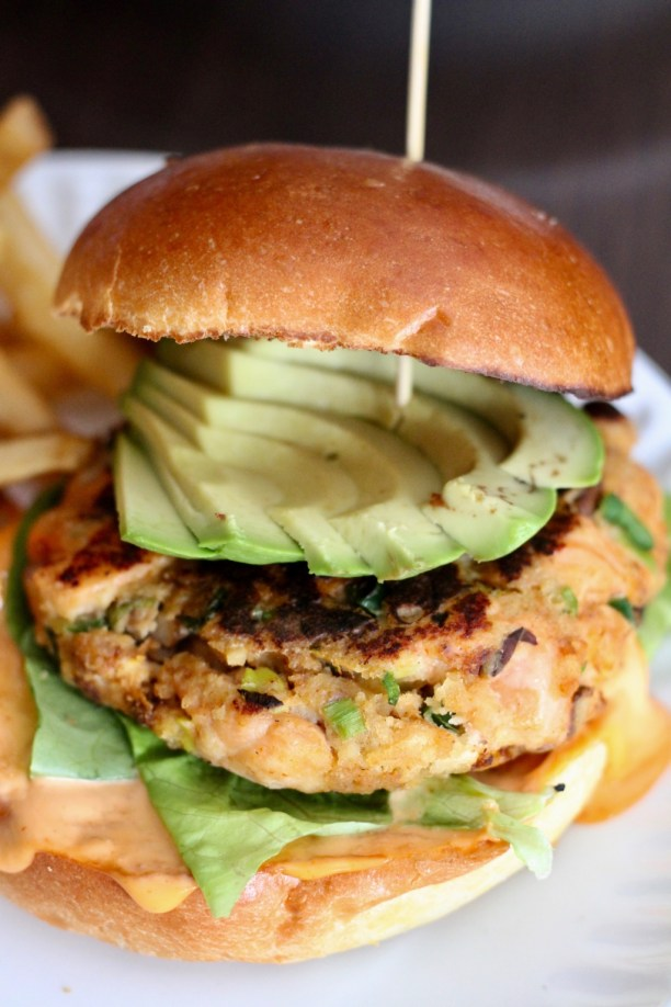 Salmon burger with avocado and wasabi aioli | The Hills Tavern in Millburn NJ | foodwithaview.com