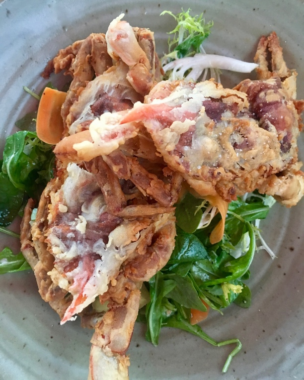 Soft shell crab on a bed of greens | Summer seasonal dining | Jockey Hollow Morristown NJ | foodwithaview.com