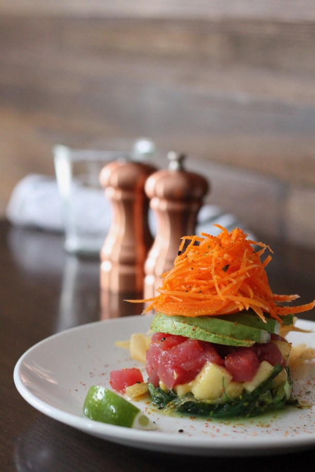Tuna poke with seaweed avocado and shredded carrots | The Hills Tavern in Millburn NJ | foodwithaview.com
