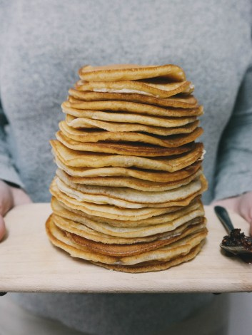 Giant stack of pancakes on a tray | How a food blogger really eats | foodwithaview.com