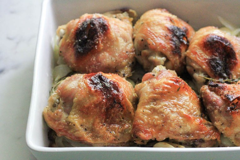 Staff Meal Oven Roasted Chicken Thighs | Mozza at Home cookbook review | foodwithaview.com