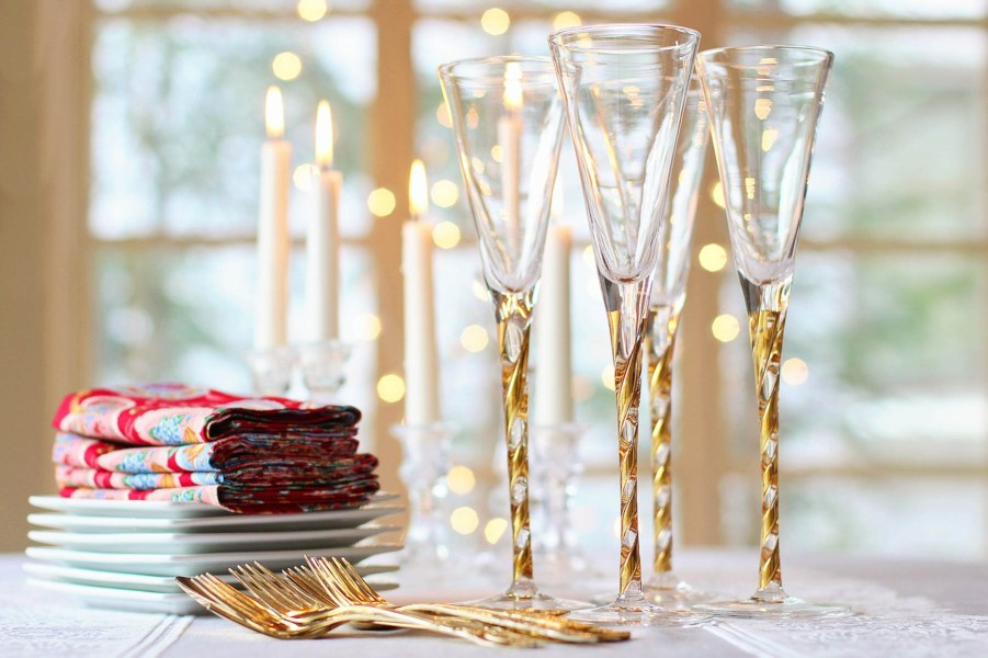 Holiday glasses serveware and napkins stocked and ready for the party | Holiday entertaining made simple with lessons learned from The Barefoot Contessa | foodwithaview.com