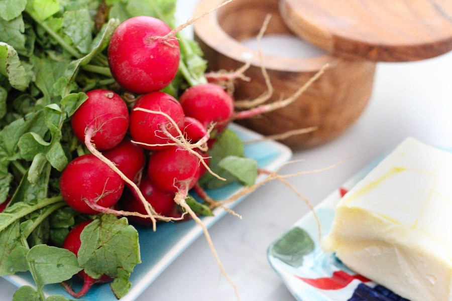 Fresh radishes cold butter and fleur de sel for a simple snack | The best of Barefoot Contessa tips lessons and recipes | cooking and entertaining with foodwithaview.com