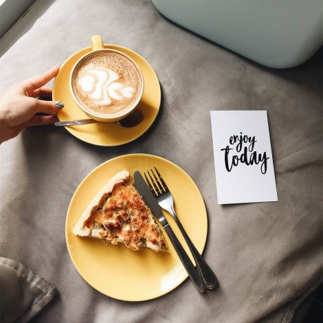 Coffee and quiche to relax and enjoy today in the new year | food goals for 2018 | photo by tanya patrikeyeva | foodwithaview.com