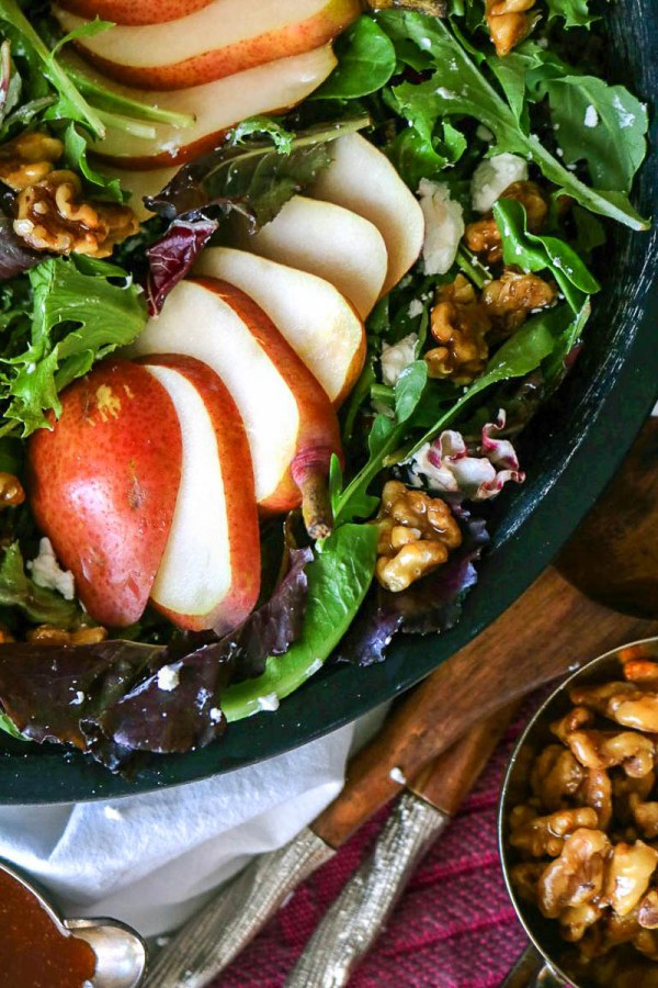 Pear and Goat Cheese Salad with Apricot-Balsamic Vinaigrette | Photo and Recipe from The Anthony Kitchen | Holiday Food and Wine Pairings and Holiday Wine Gifts | foodwithaview.com
