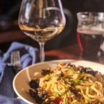Bowl of pasta and a glass of wine for lunch | Summit House restaurant in Summit, NJ | NJ restaurant reviews on foodwithaview.com