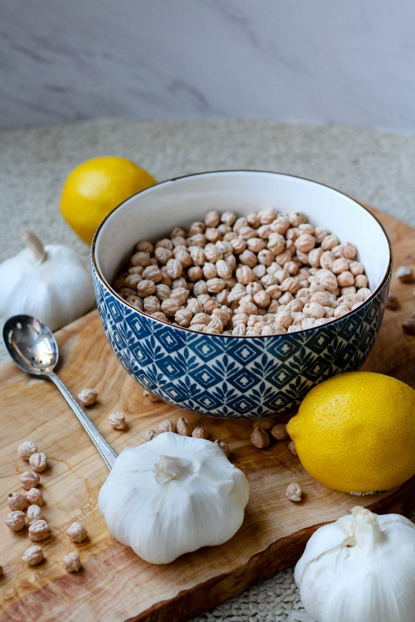 Dried chickpeas, lemon and garlic | ingredients for homemade hummus | Jerusalem: A Cookbook Review | foodwithaview.com