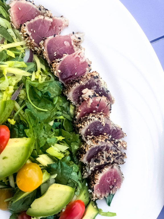 Grilled sesame tuna with tomato and avocado salad | EVOO + Lemon restaurant review | foodwithaview.com