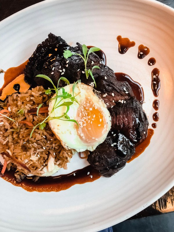 Hangar steak with fried egg and crab fried rice | The Cassidy Bar + Kitchen | NJ Restaurant Reviews | foodwithaview.com
