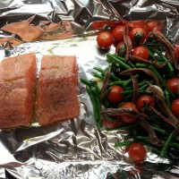 Tray-Baked Salmon with Olives, Green Beans, Anchovies & Tomatoes with Spicy Saffron Rice & Basil Aïoli