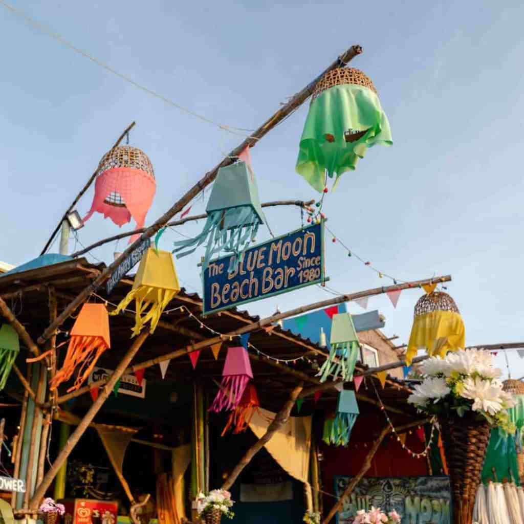 An exterior shot of Blue Moon Beach Bar on Klong Nin Beach